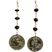 French 5 Centimes with Spinel Earrings