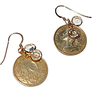 French 10 Centimes Earrings with Swarovski Crystal