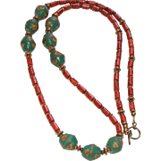 Ethnic Style Sponge Coral, Vintage African Krobo Beads and Vintage Brass Necklace