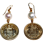 Spanish Una Peseta Coin Earrings with Cultured Freshwater Pearl