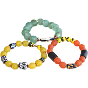Trio of African Recycled Glass and Krobo Bead Stacking Bracelets from Ghana