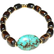 Chinese Turquoise Cabochon and African Bone Bracelet