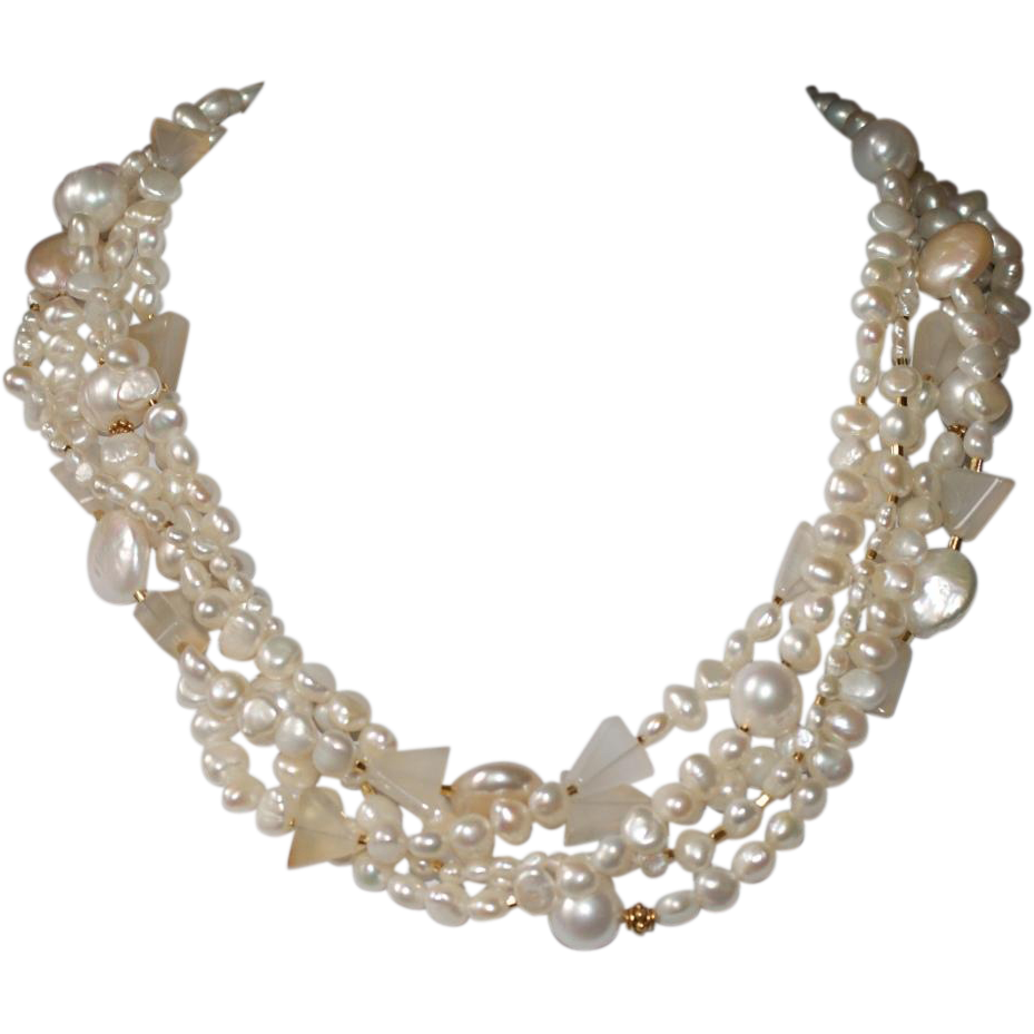 Torsade Necklace: Freshwater Pearls With Natural Chalcedony Torsade Necklace
