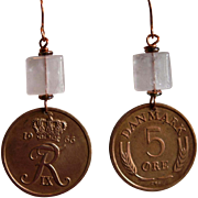 Danish 5 Ore Coin Earrings with Rose Quartz  (1964 and 1966)