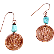 Barbados One Cent Coin Earrings with Turquoise