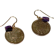 Spanish Una Peseta Coin Earrings with Amethyst (1953 and 1963)