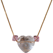 Swarovski Crystal Heart with Pink Simplicity Crystals  on 14K Gold Filled Chain