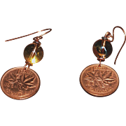 Coin Earrings -1964 Canadian Maple Leaf 1 Cent with Swarovski Golden Sunshine Globe