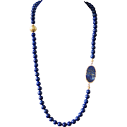 Lapis Necklace with Slab-Cut Lapis and Vintage Gold Foil Bead - Red Tag Sale Item