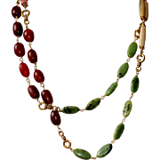 Long Necklace with Green African Jasper, Bone Hairpipe Beads, African Copal and African Pink Padre Beads
