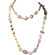 Long and Luxurious Pastel Semi-Precious Gemstone and Freshwater Pearl Necklace