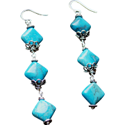 Natural Nacozari Turquoise and Bali Silver Earrings