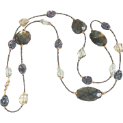 Long Labradorite, Iridescent  Druzy, Lemon Quartz and Green Amethyst Necklace