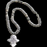 Ethiopian Coptic Cross Pendant on Polished Howlite, Bone and African Batik Beads