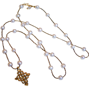 Large Freshwater Cultured Pearls and African Brass Beads with Ethiopian Coptic Cross Pendant