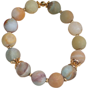 Matte Black Gold Amazonite Stretch Bracelet