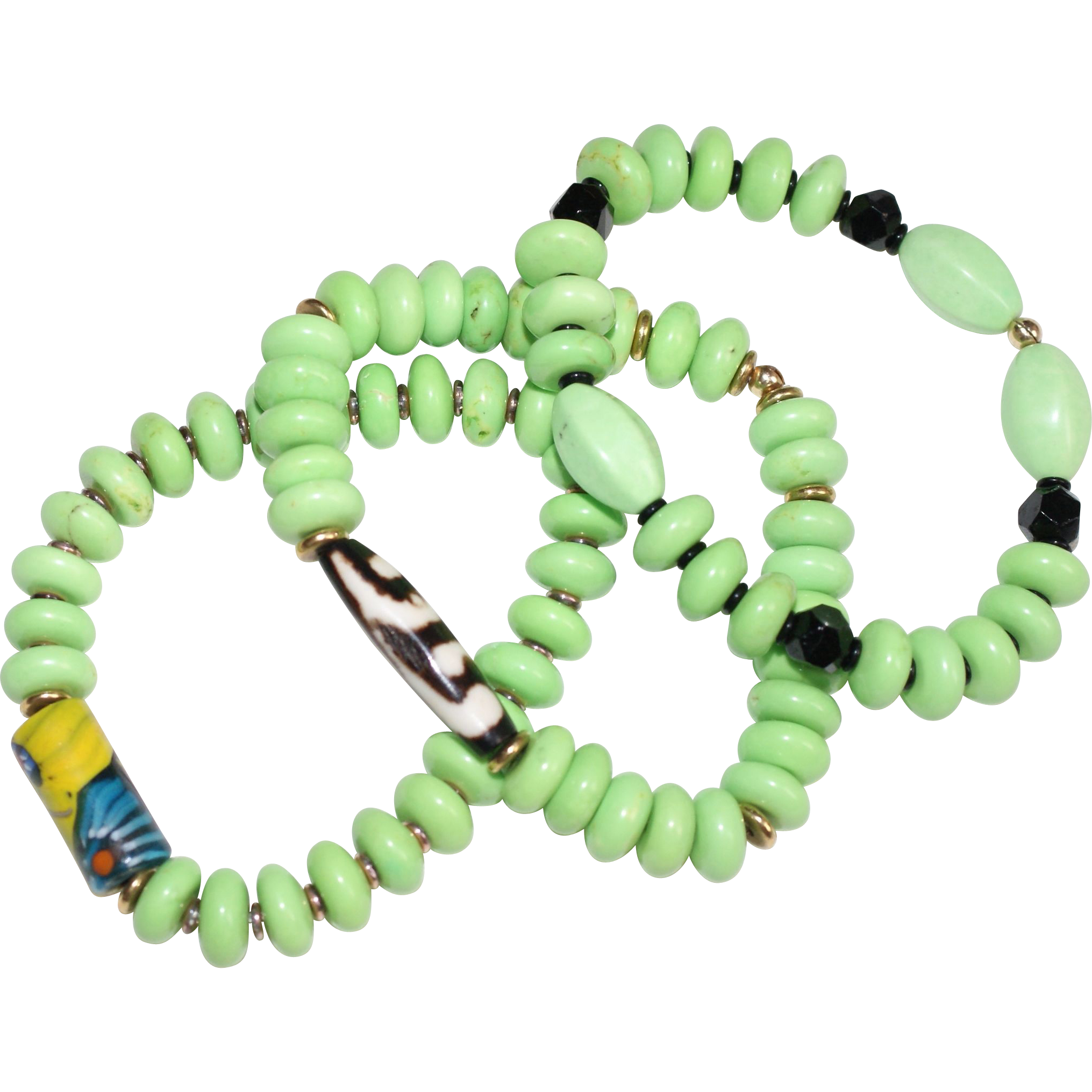 Trio of bright lime green magnesite bead bracelets red for Eurasia jewelry miami fl