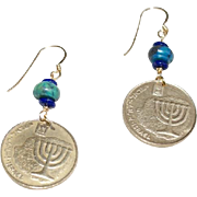 Israeli 10 Agorot Coins with Eilat Stone and Lapis Earrings