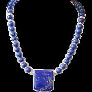 Lapis Lazuli Pendant Necklace with Vermeil Accents