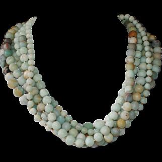 Matte Black Gold Amazonite Six Strand Statement Necklace
