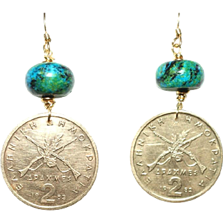 Greek 2 Drachmes Coin Earrings with Chrysocolla  (1982)