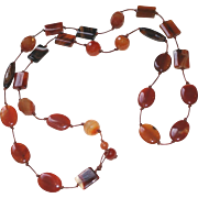 Carnelian Agate Necklace with Faceted Carnelian and Sardonyx on Hand-knotted Leather