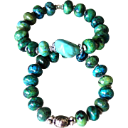 Pair of Chrysocolla Jasper and Val Verde Turquoise Nugget  Bracelets with Silvertone accents
