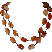 Carnelian Agate Nugget and Leather Necklace