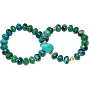 Pair of Chrysocolla Jasper and Val Verde Turquoise Nugget  Bracelets with goldtone accents