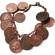 Copper and Bronze World Coins Bracelet