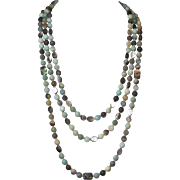 Matte Black Gold Amazonite, Mother of Pearl and Abalone Three Strand Statement Necklace