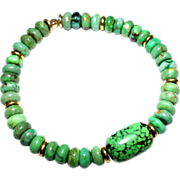 """Green Chinese """"Turquoise"""" with large Val Verde Green (dyed) Focal Bead Bracelet"""