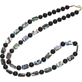 Matte Black Onyx and Abalone Necklace