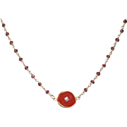 Rubellite  Gemstone Chain Necklace with Extender Chain