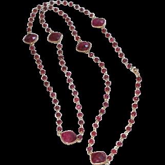 Long Layering Ruby Corundum Gemstone Chain Necklace with Bezel Set Ruby Stations