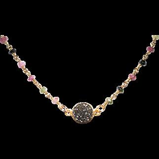 Druzy on Tourmaline Wire Wrapped Chain Necklace