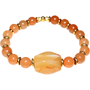 Red Aventurine and Carnelian Agate Stretch  Bracelet