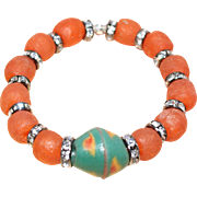Halloween Sparkle --  Orange and Green African Krobo Beads  with Chanel Set Rhinestone Rondels