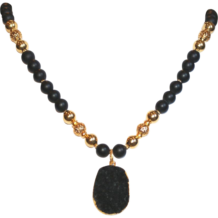 Dramatic Black And Gold Necklace With Black Druzy Pendant