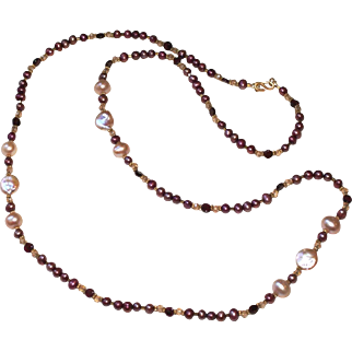 Long Layering Necklace  of Burgundy, Mauve and Peach Cultured Freshwater Pearls (1 of 3)