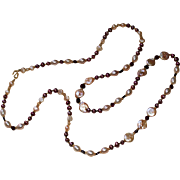 Long Layering Necklace  of Burgundy,  Mauve and Peach Cultured Freshwater Pearls