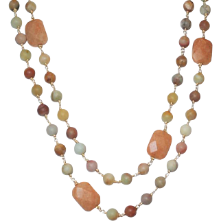 Southwestern Desert - Red Aventurine and Matte Black Gold Amazonite Necklace