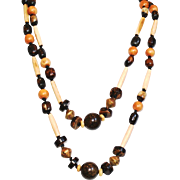 Boho/Ethnic Style Necklace - African Bone, Horn, Wood, Vintage African Brass and Bronzite