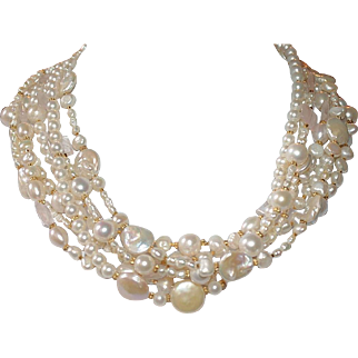 7 Strand Freshwater Pearl and Natural Quartz Torsade Necklace