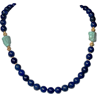 Lapis and Turquoise Frog Necklace