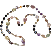 Long and Luscious Freshwater Pearl and Gemstone Necklace