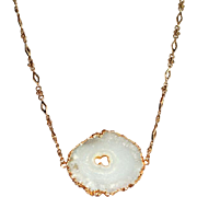 White Lace Agate Pendant  Necklace