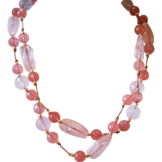 Pretty in Pink - Rose Quartz and Strawberry Glass on Light Brown Leather Necklace