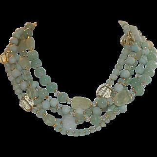 Shades of Aqua Green Five- Strand Gemstone Torsade Necklace