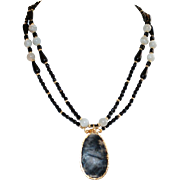 Moss Agate Pendant, Black Czech Glass and White Lace Agate Necklace